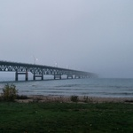 The Mackinac Bridge disappears into the fog.